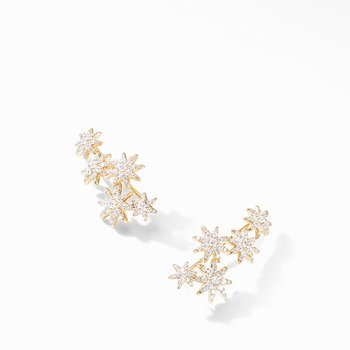 Starburst Climber Earrings in 18K Yellow Gold with Pave Diamonds