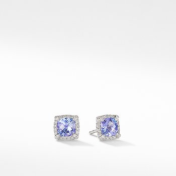 Petite Chatelaine Pave Bezel Stud Earrings in 18K White Gold with Tanzanite