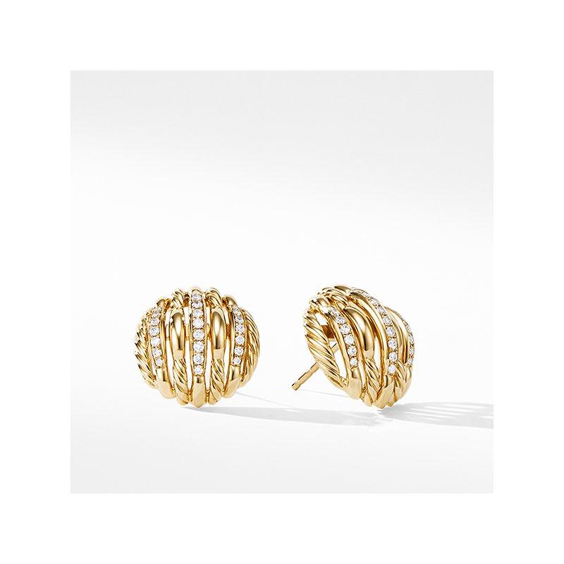 David Yurman Tides Stud Earrings in 18K Yellow Gold with Diamonds
