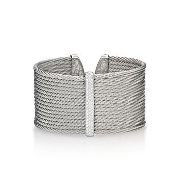 Grey Cable Cuff with Diamonds