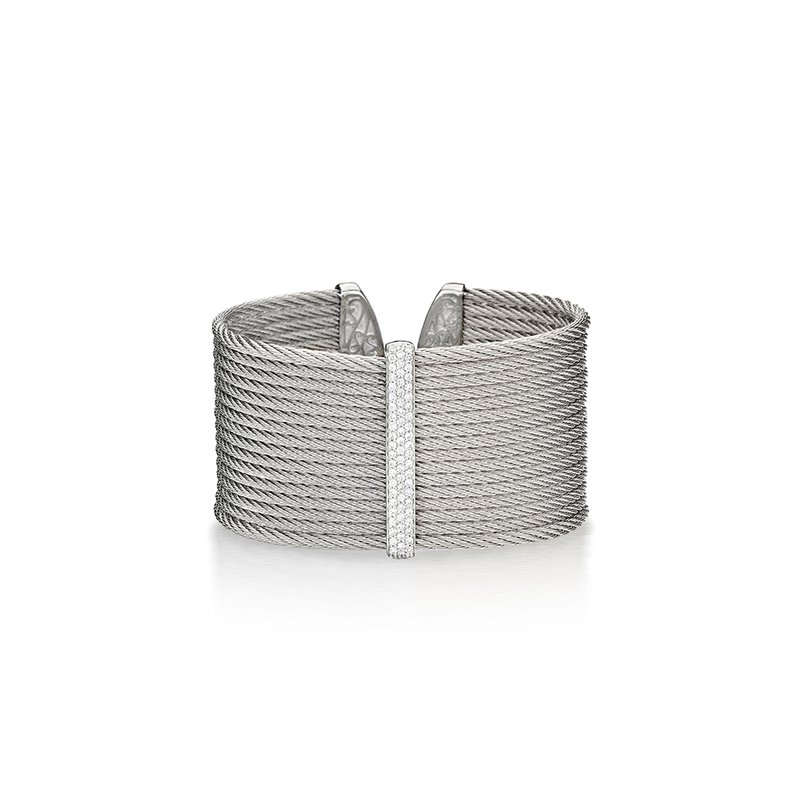 ALOR Grey Cable Cuff with Diamonds