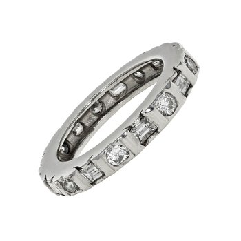 Round & Baguette Diamond Eternity Band
