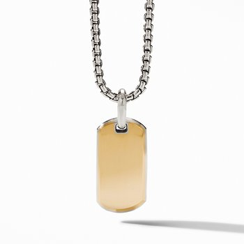Streamline Tag with 18K Yellow Gold