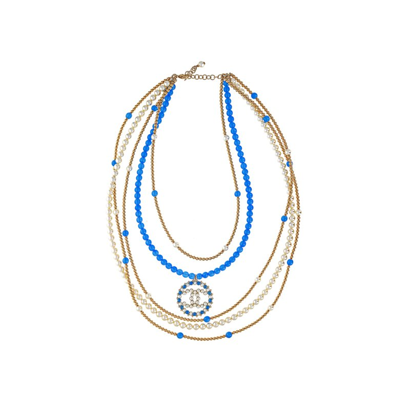 CHANEL Beaded Logo Necklace