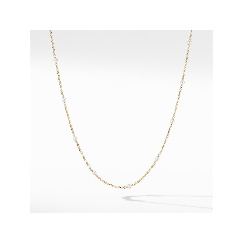 David Yurman Cable Collectibles Bead and Chain Necklace in 18K Yellow Gold with Pearls