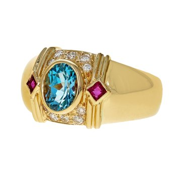 Topaz, Ruby & Diamond Ring