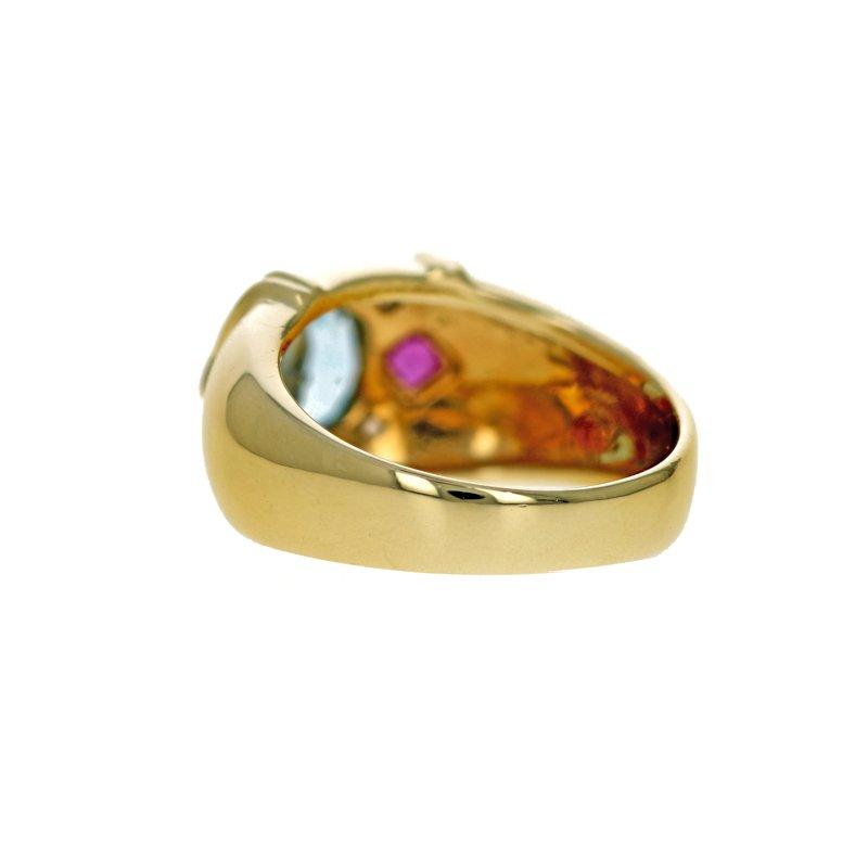 Estate Radcliffe Topaz, Ruby & Diamond Ring