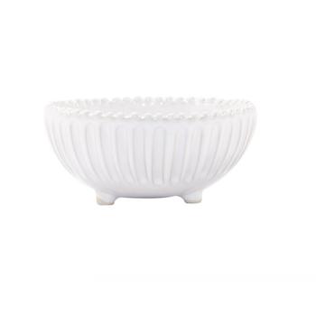 Incanto Stone White Stripe Footed Bowl