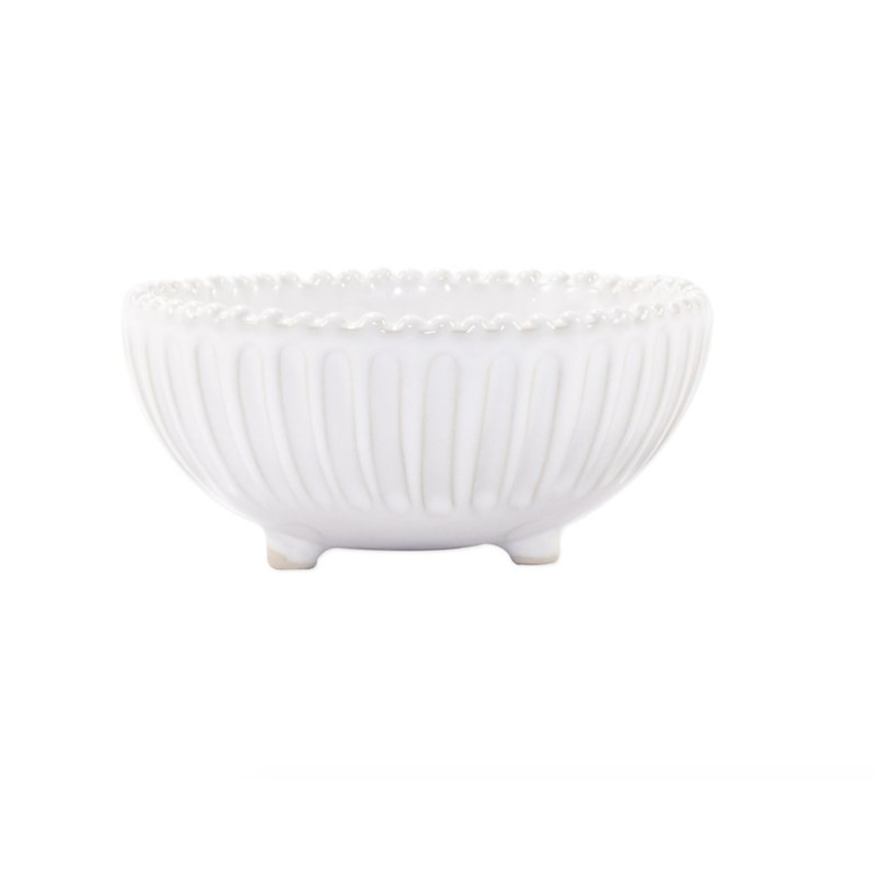 Vietri Incanto Stone White Stripe Footed Bowl