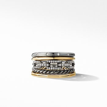 Stax Wide Ring in Blackened Silver with Diamonds