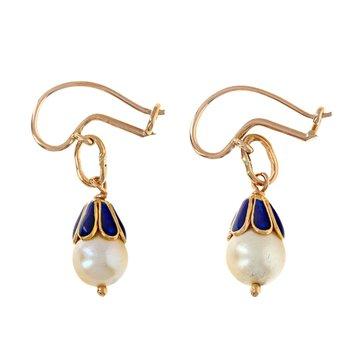 Enamel & Pearl Drop Earrings