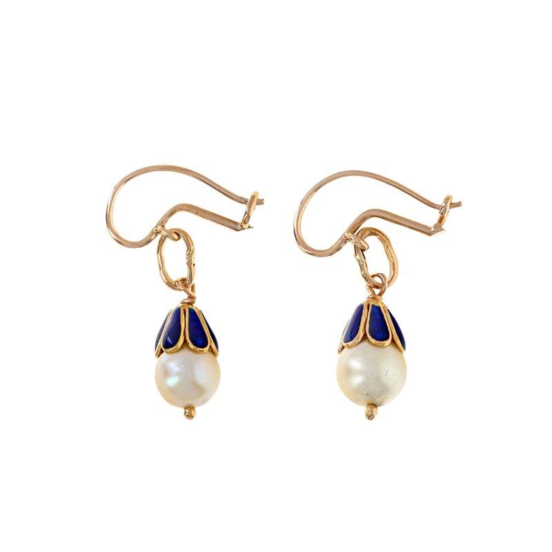 Estate Radcliffe Enamel & Pearl Drop Earrings