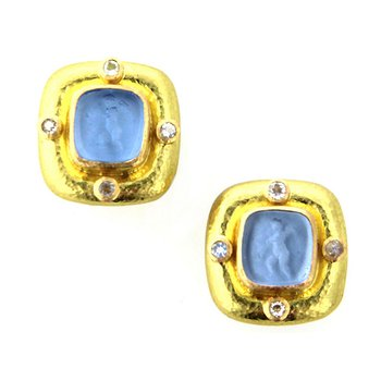 "Cerulean ""Square Putto"" Earrings"