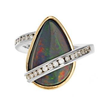 Opal & Diamond Asymmetrical Ring