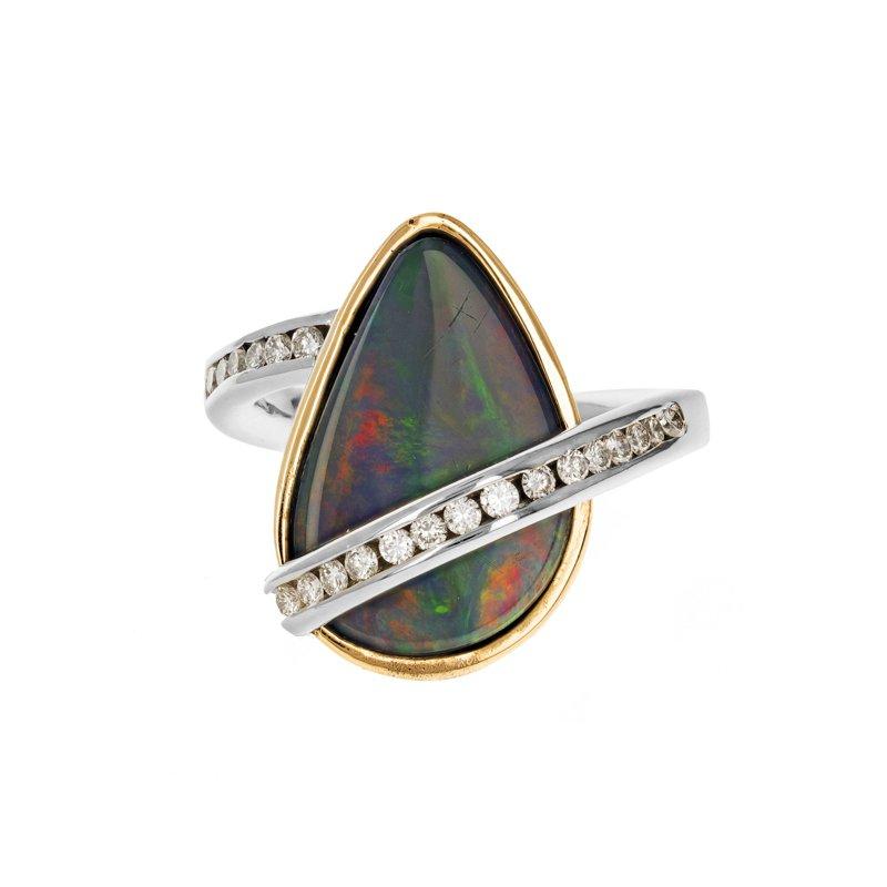Estate Radcliffe Opal & Diamond Asymmetrical Ring