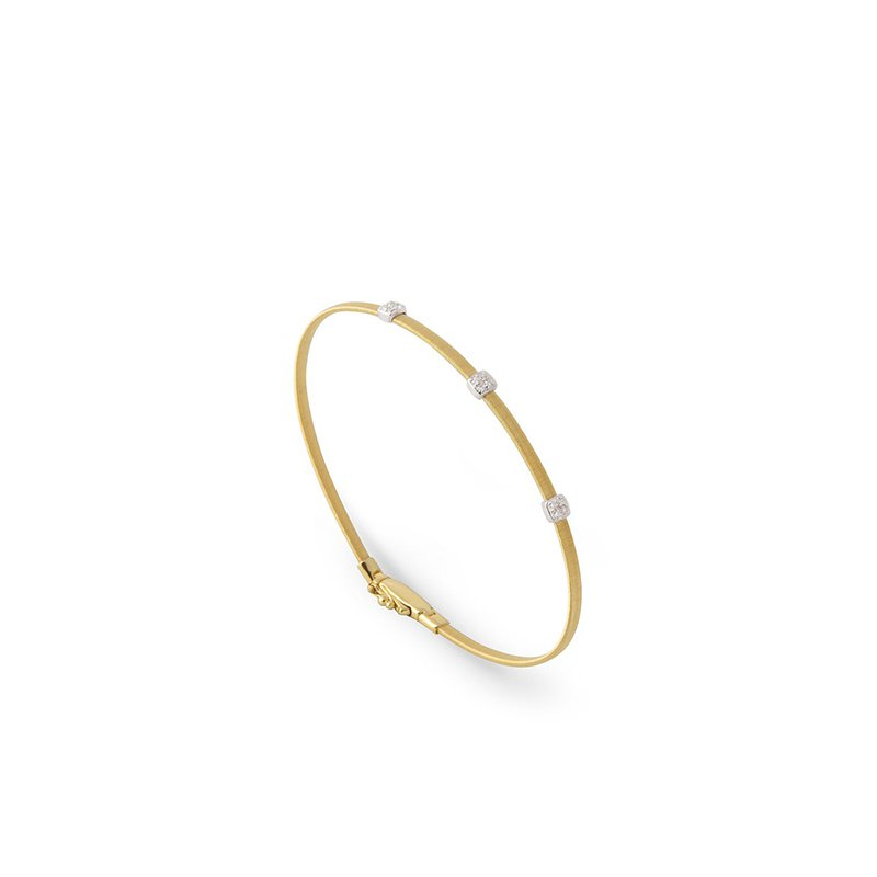Marco Bicego Masai Collection 18K Yellow Gold and Diamond Small Three Station Bracelet