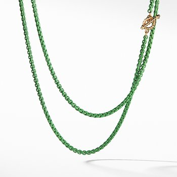 DY Bel Aire Chain Necklace in Green with 14K Gold Accents