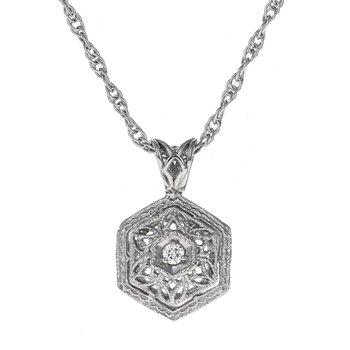 Decorative Diamond Hexagon Pendant Necklace