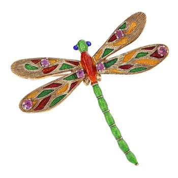 Enamel & Ruby Dragonfly Brooch