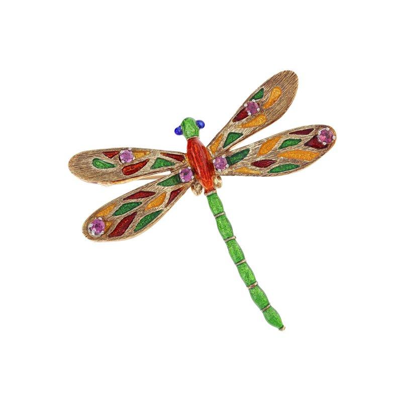 Estate Radcliffe Enamel & Ruby Dragonfly Brooch