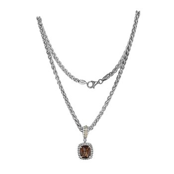 Quartz & Diamond Pendant Necklace