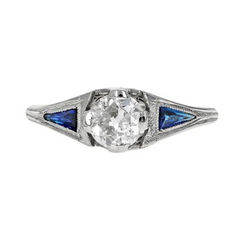 1920's Diamond & Synthetic Sapphire Ring