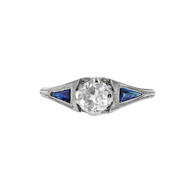 Estate Radcliffe 1920's Diamond & Synthetic Sapphire Ring