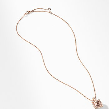 Chatelaine Pave Bezel Pendant Necklace in 18K Rose Gold with Morganite