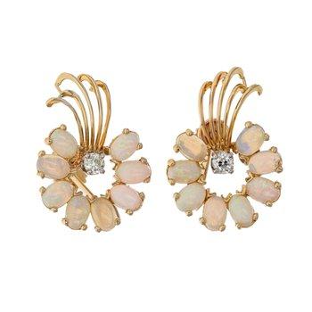 Diamond & Opal Whimsical Earrings