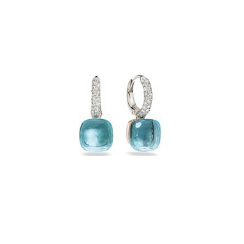 Nudo Classic Earrings in Blue Topaz and Diamond