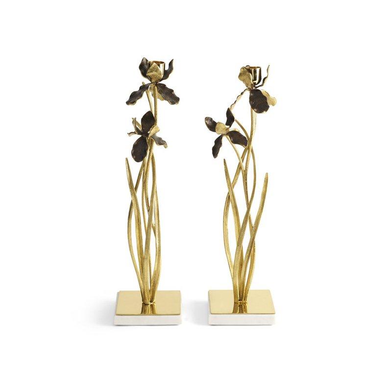 Michael Aram Black Iris Candleholders-Set of 2