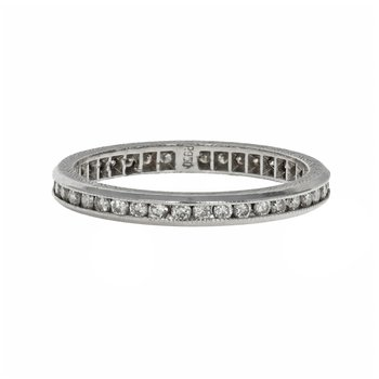 Hand Engraved Channel Set Diamond Eternity Band