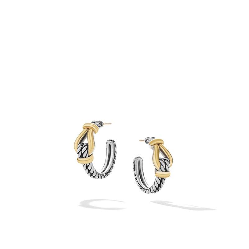 David Yurman Thoroughbred Loop Huggie Hoop Earrings with 18K Yellow Gold