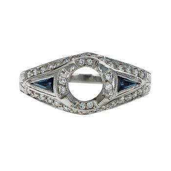 Art Deco Diamond & Sapphire Semi-Mount Ring