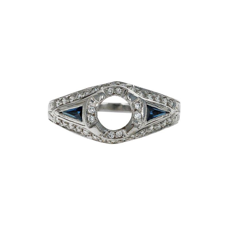 Estate Radcliffe Art Deco Diamond & Sapphire Semi-Mount Ring