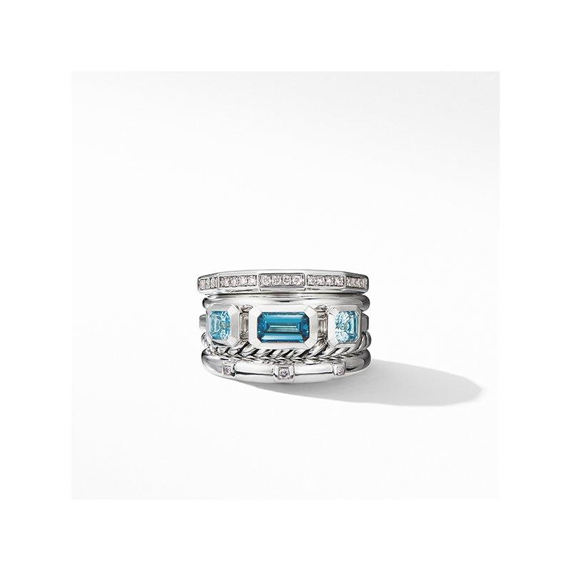 David Yurman Stax Wide Ring with Hampton Blue Topaz and Diamonds