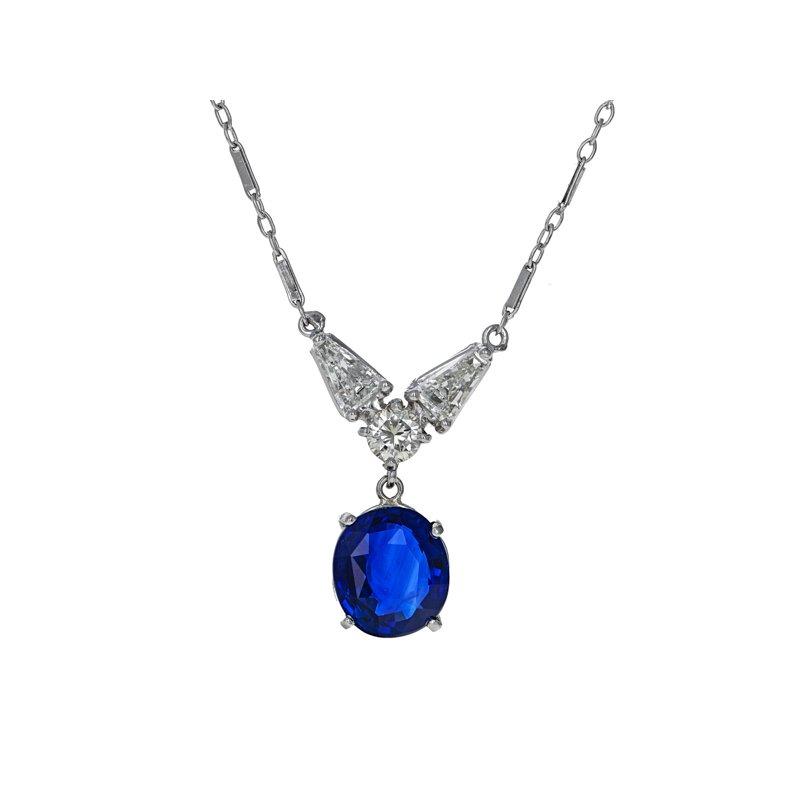 Estate Radcliffe Diamond & Sapphire Necklace