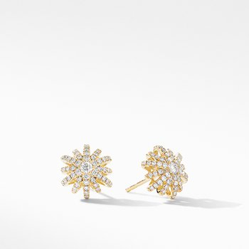 Starburst Small Stud Earrings in 18K Yellow Gold with Pave Diamonds
