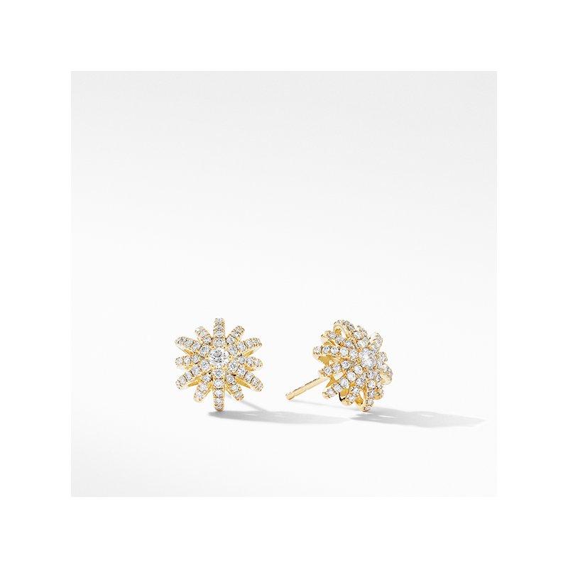 David Yurman Starburst Small Stud Earrings in 18K Yellow Gold with Pave Diamonds
