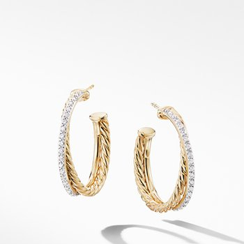Crossover Medium Hoop Earrings in 18K Yellow Gold with Diamonds