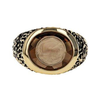 Carved Topaz Signet Ring