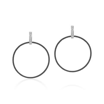 Black Cable Circle Earrings