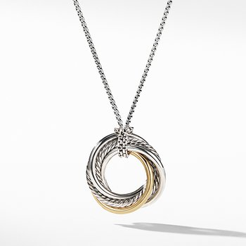 Crossover Small Pendant Necklace with Gold