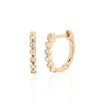 Diamond Bezel Huggie Earrings