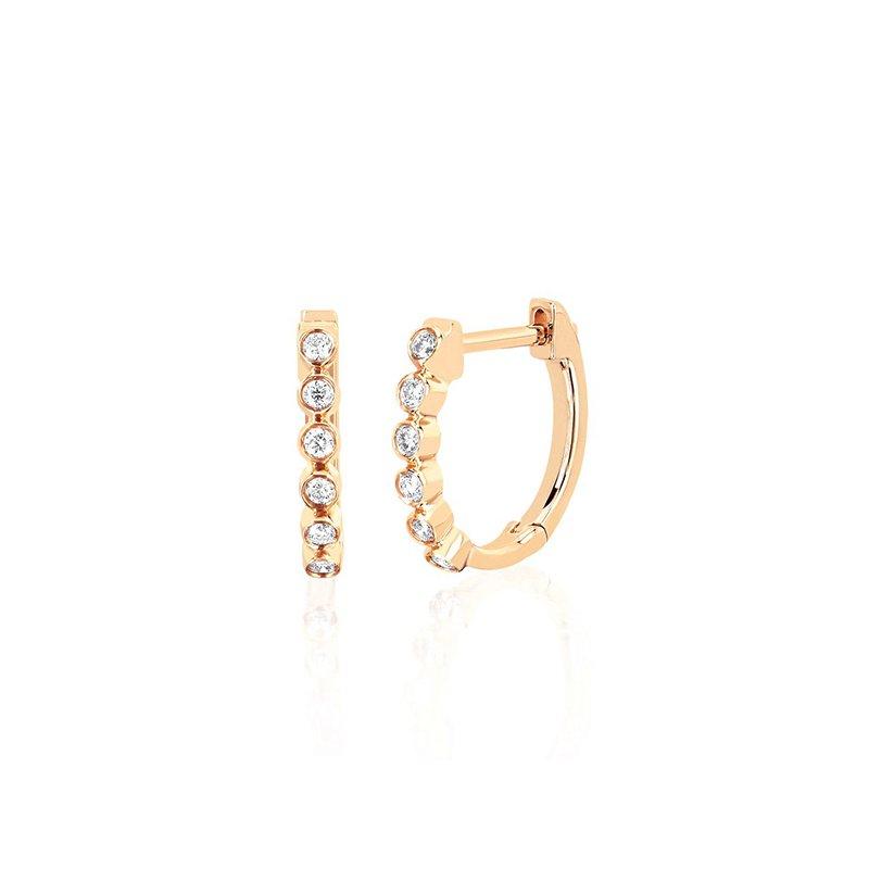 EF Collection Diamond Bezel Huggie Earrings