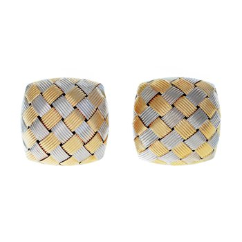 Woven Button Earrings