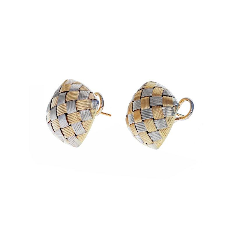 Estate Roberto Coin Woven Button Earrings