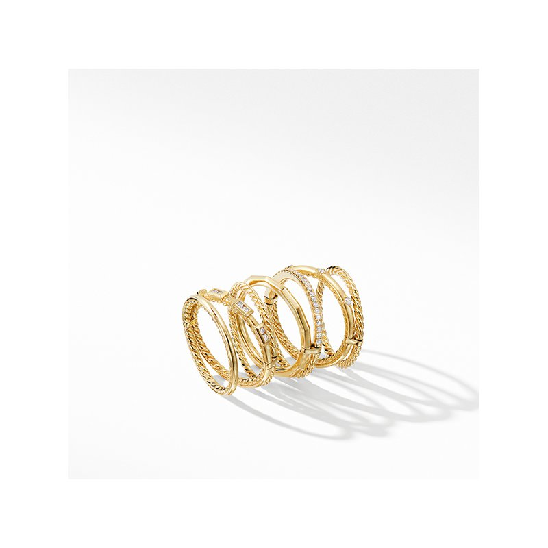 David Yurman Stax Cable and Pave Ring in 18K Yellow Gold