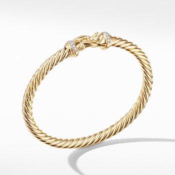 Buckle Bracelet in 18K Yellow Gold with Diamonds