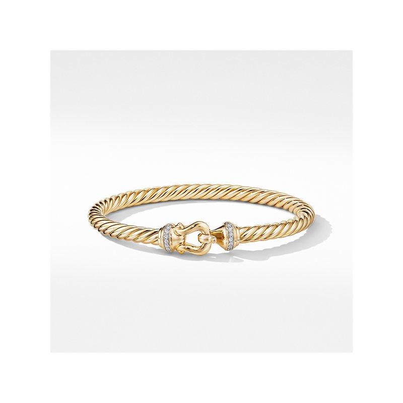 David Yurman Buckle Bracelet in 18K Yellow Gold with Diamonds